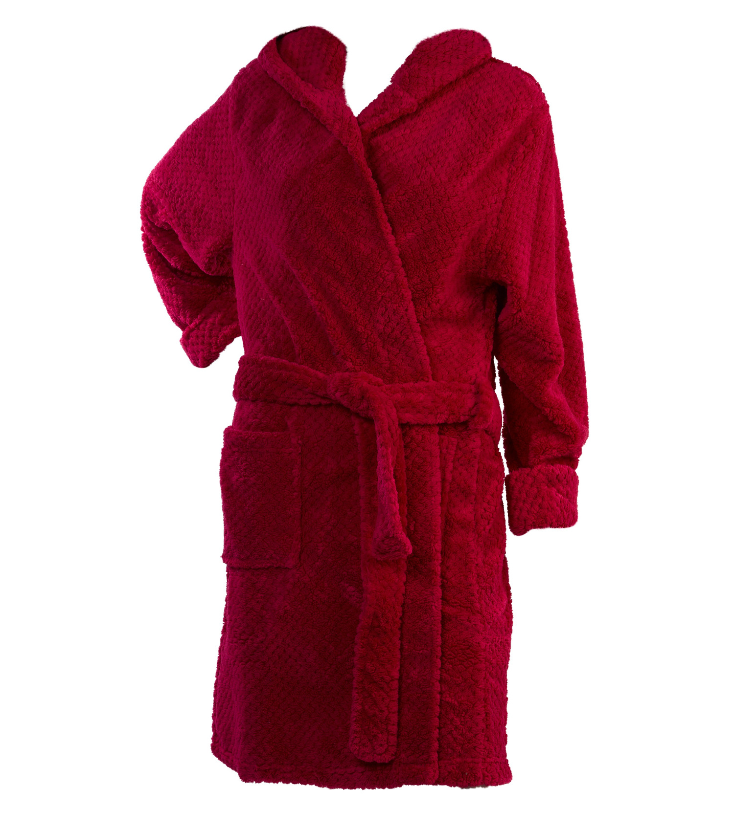 Dressing Gown Womens Hooded Bath Robe Soft Waffle Fleece Slenderella ...