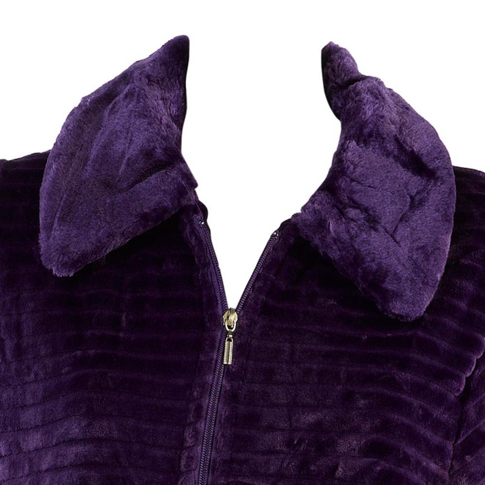 Dressing Gown Womens Faux Fur Detail Zip Bath Robe Ribbed ...