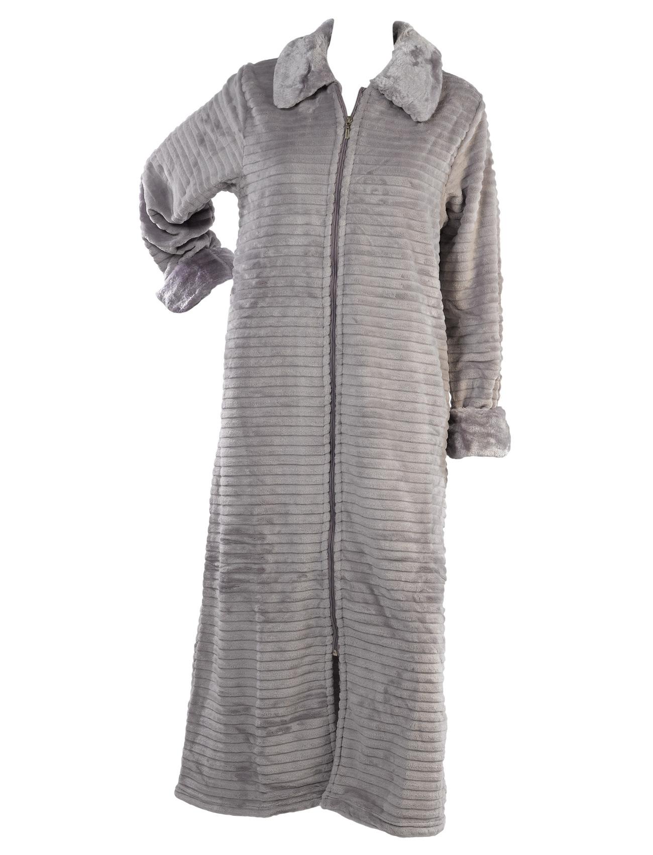 Slenderella Ladies Ribbed Dressing Gown Zip Or Wrap Faux Fur Collar