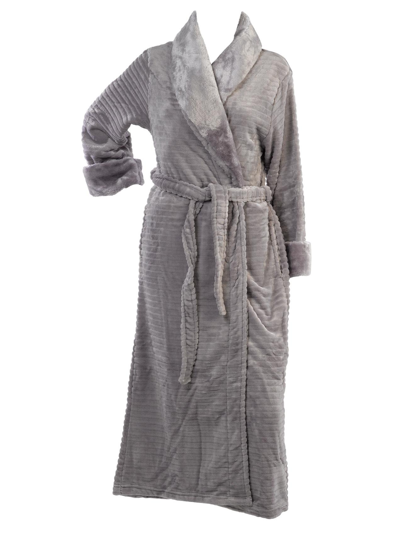 slenderella ladies ribbed dressing gown zip or wrap faux. Black Bedroom Furniture Sets. Home Design Ideas