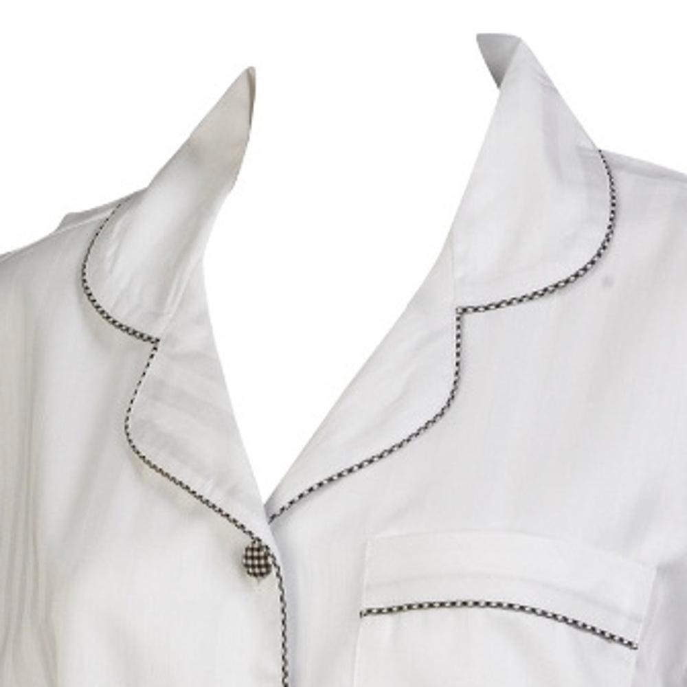 Womens Pyjamas 100% Cotton White Satin Stripe Gingham Trim Long Sleeve Top  PJs. Smiley face 4fa54bb05