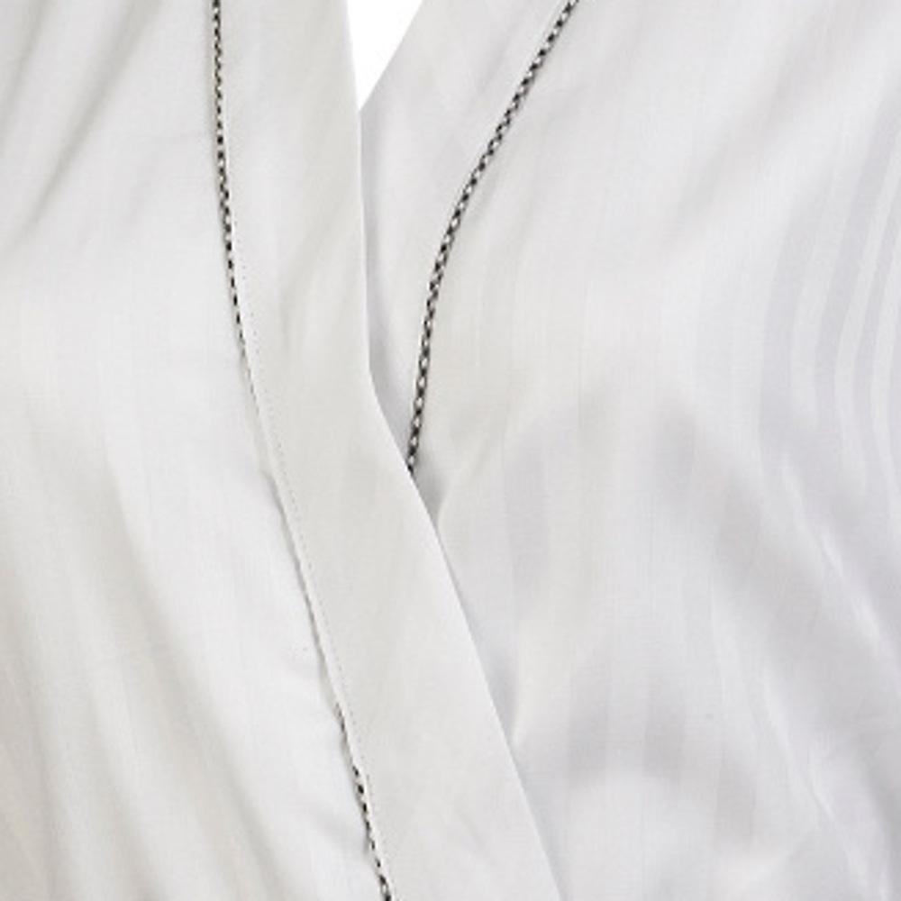 Womens Bath Robe 100/% Cotton White Satin Stripe Dressing Gown Wrap Gingham Trim
