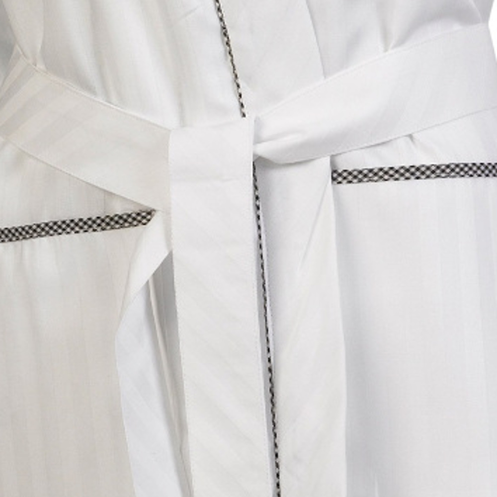 Smiley face. These ladies long sleeved dressing gowns have a satin stripe  design throughout with gingham check detail. They are a wrap around style  with a ... 05b98f4ea