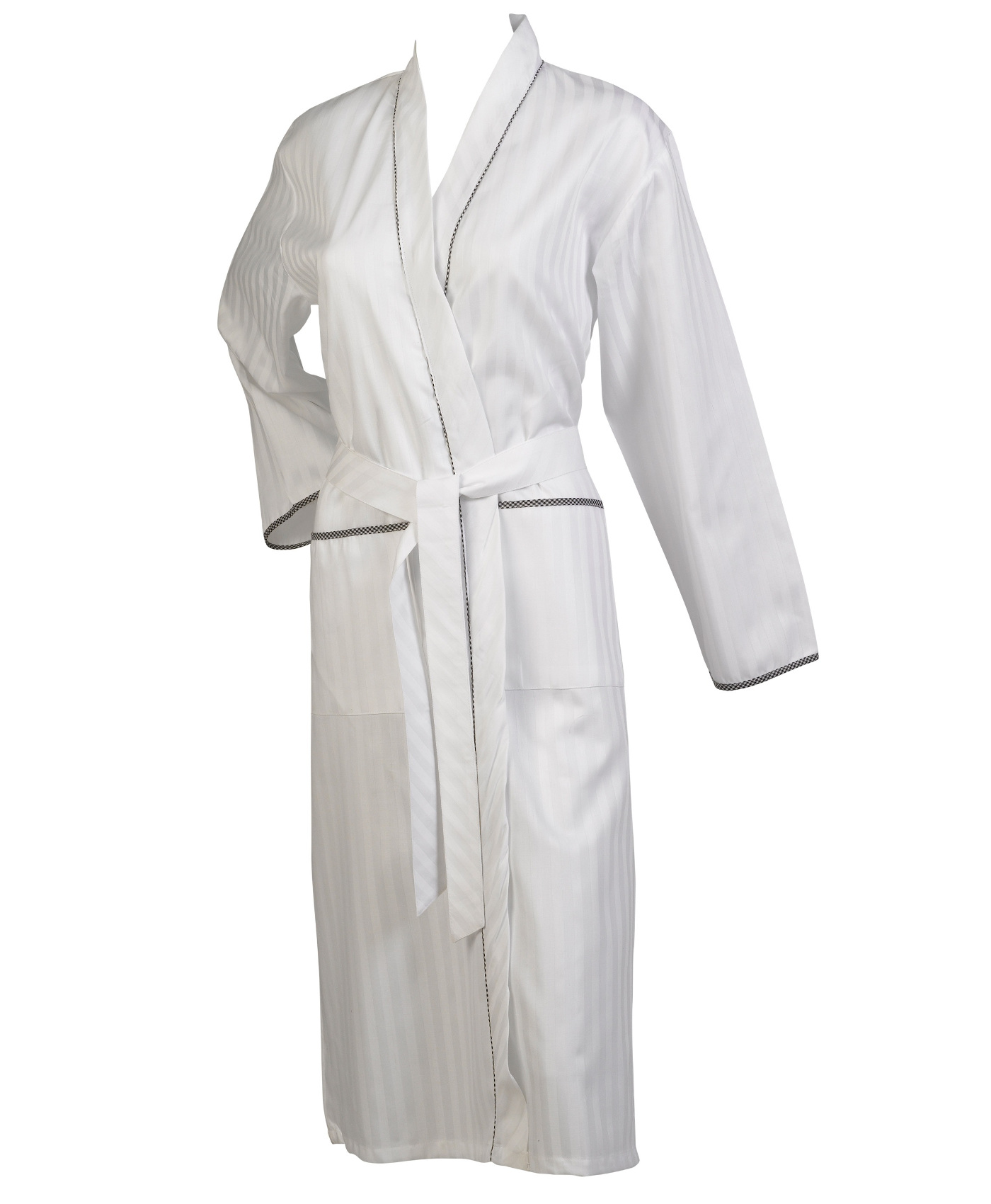 These ladies long sleeved dressing gowns have a satin stripe design  throughout with gingham check detail. They are a wrap around style with a  belt for ... 49d8ee5baff1