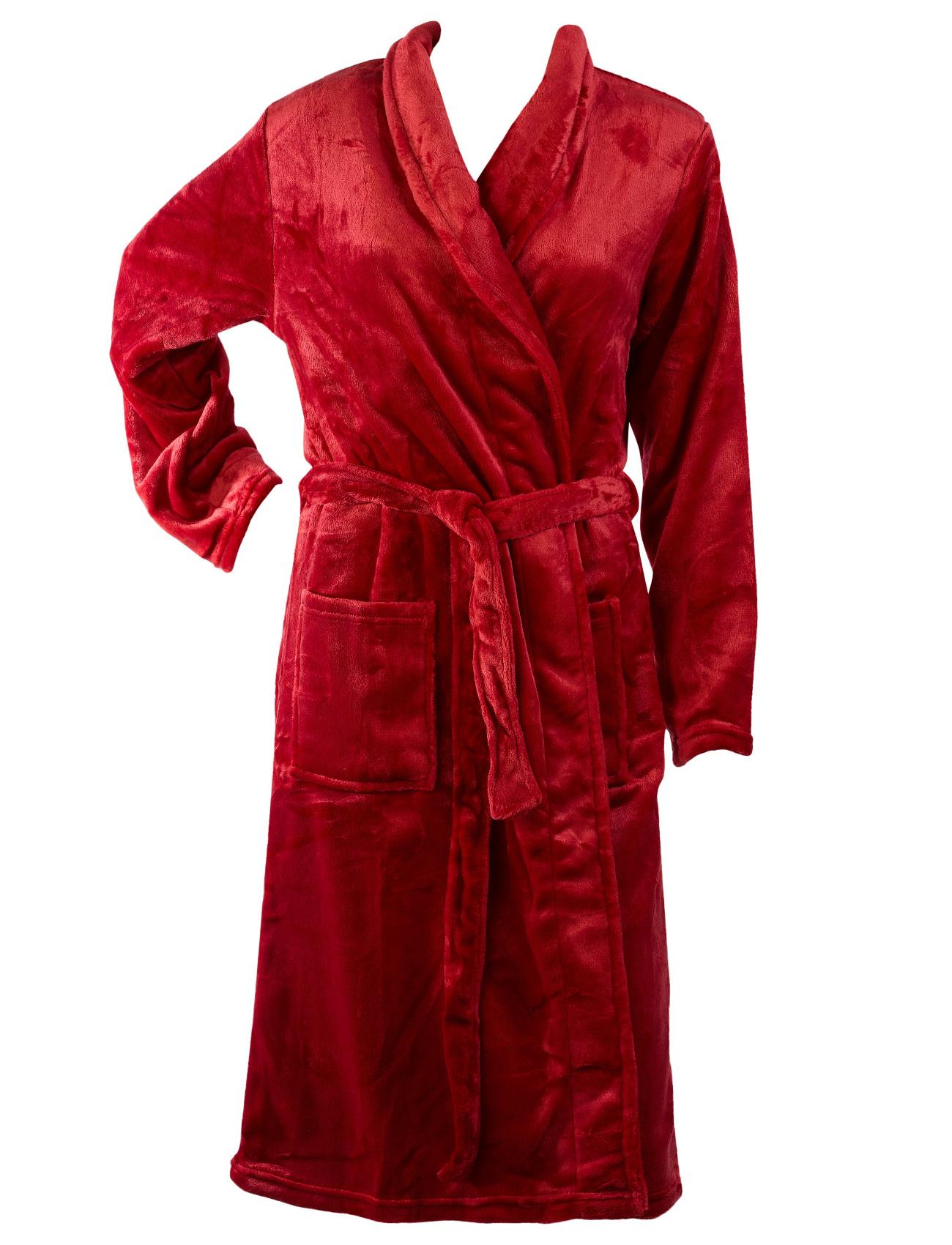 Bath Robe Womens Soft Thick Fleece Plain Shawl Collar Wrap Around ...