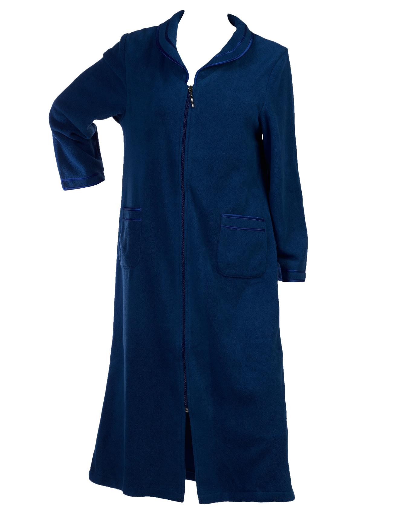 Dressing Gown Womens Zip Up Anti Pill Fleece Slenderella ...
