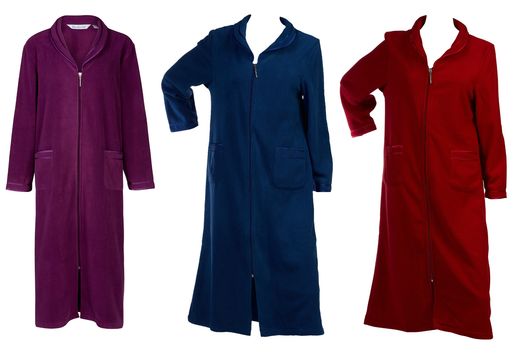 Dressing Gown Womens Zip Up Anti Pill Fleece Slenderella Satin Trim ...