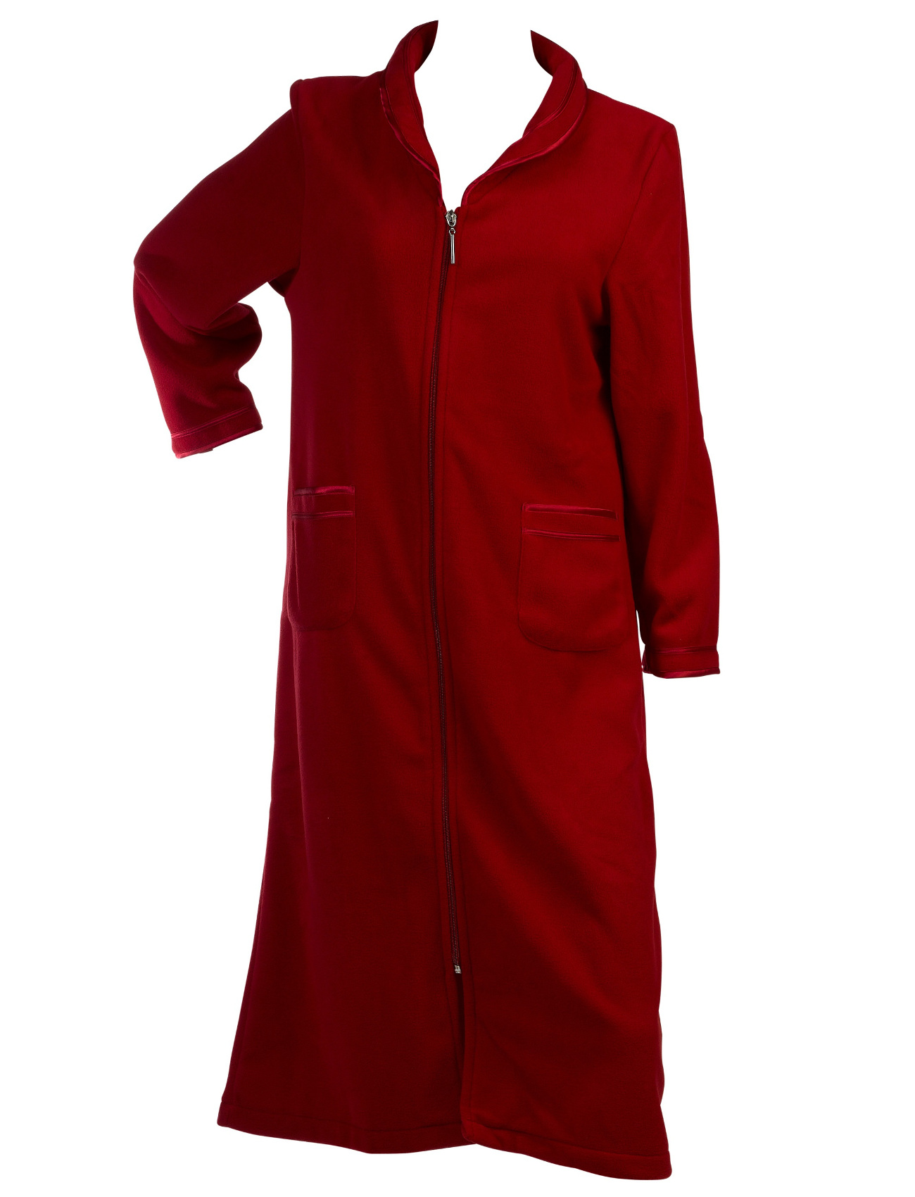 fa1018e265 Dressing Gown Womens Zip Up Anti Pill Fleece Slenderella Satin Trim Bathrobe