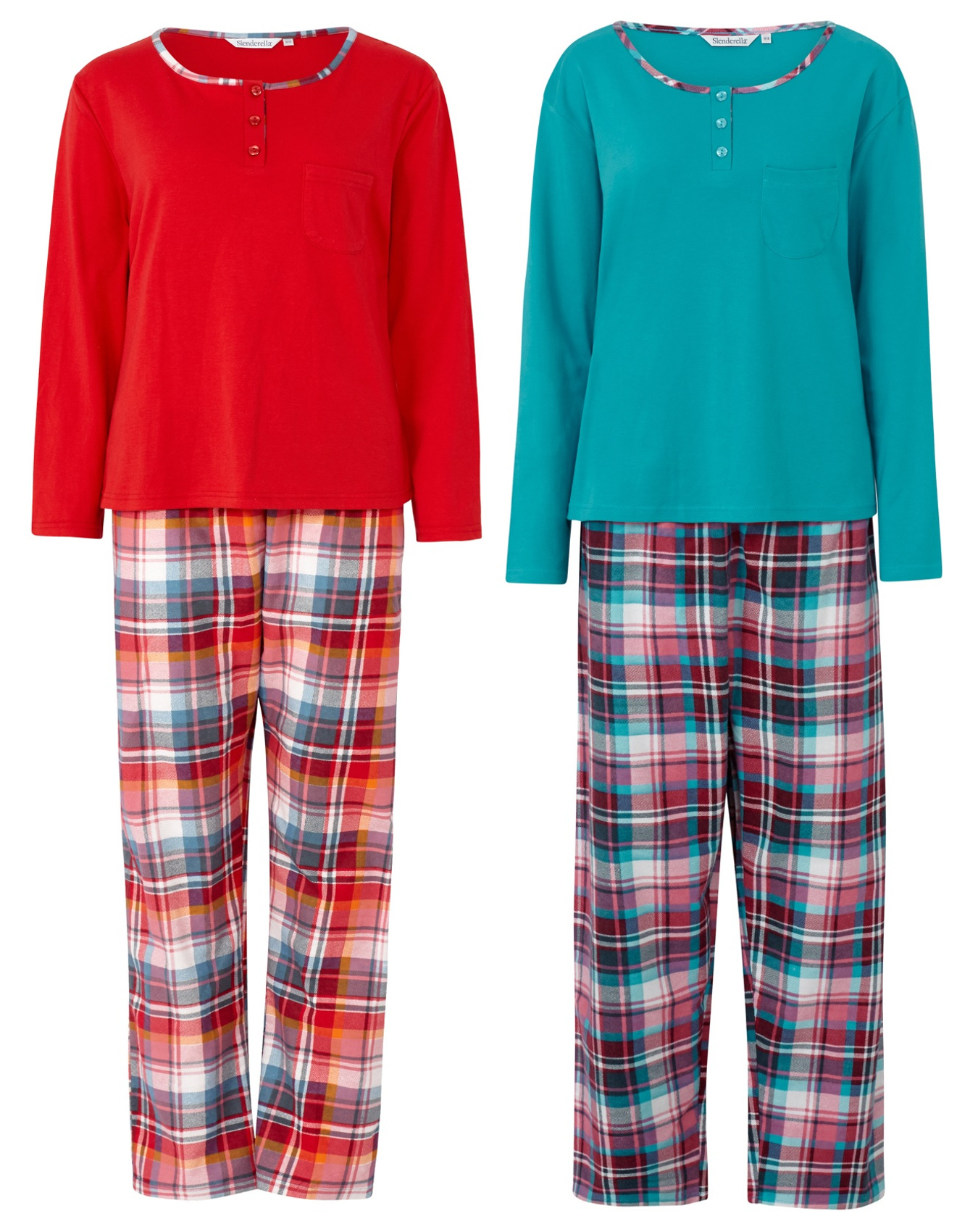 c9c9df1aaa Pyjamas Set Ladies Slenderella Jersey Cotton Plain Top   Checked Bottoms PJs