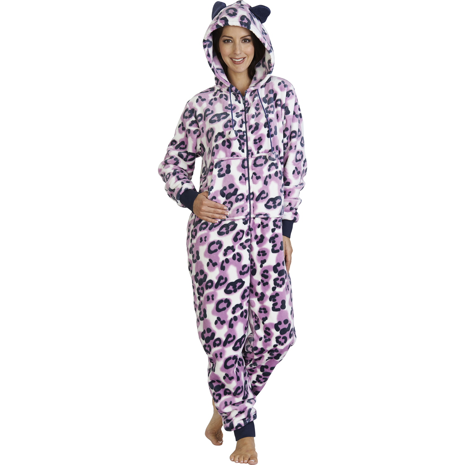 293e440288 Ladies Soft Fleece All In One Suit Womens Cosy Warm Jumpsuit ...
