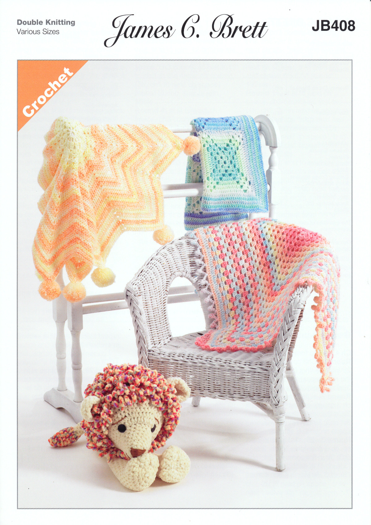 James Brett Double Knit Crochet Pattern Star Granny Square Cross ...