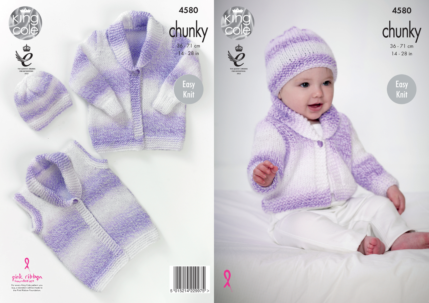 Easy Knit Cardigan Waistcoat Hat Baby Knitting Pattern King Cole