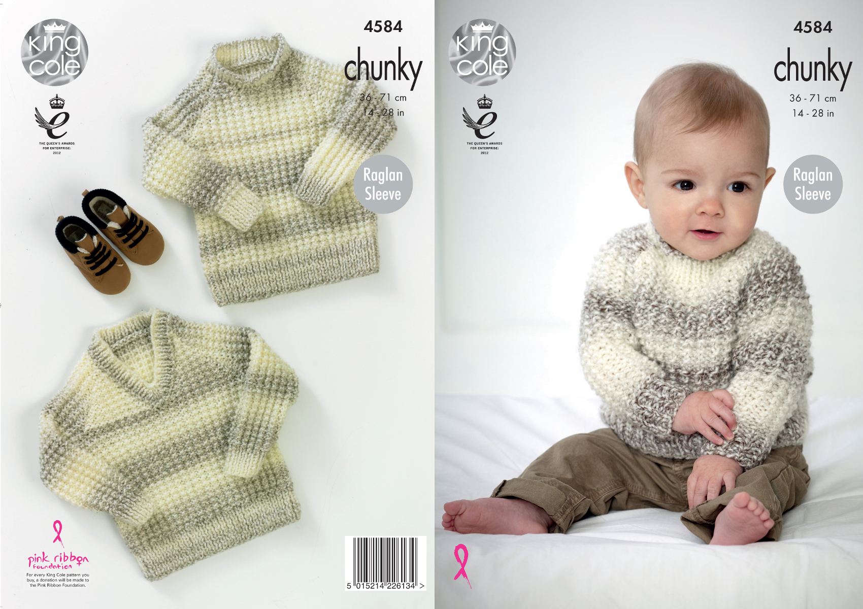 "DK Knitting Pattern Baby Boys Girls Cardigan V Or Round Neck Size 18//28/"" Chest"