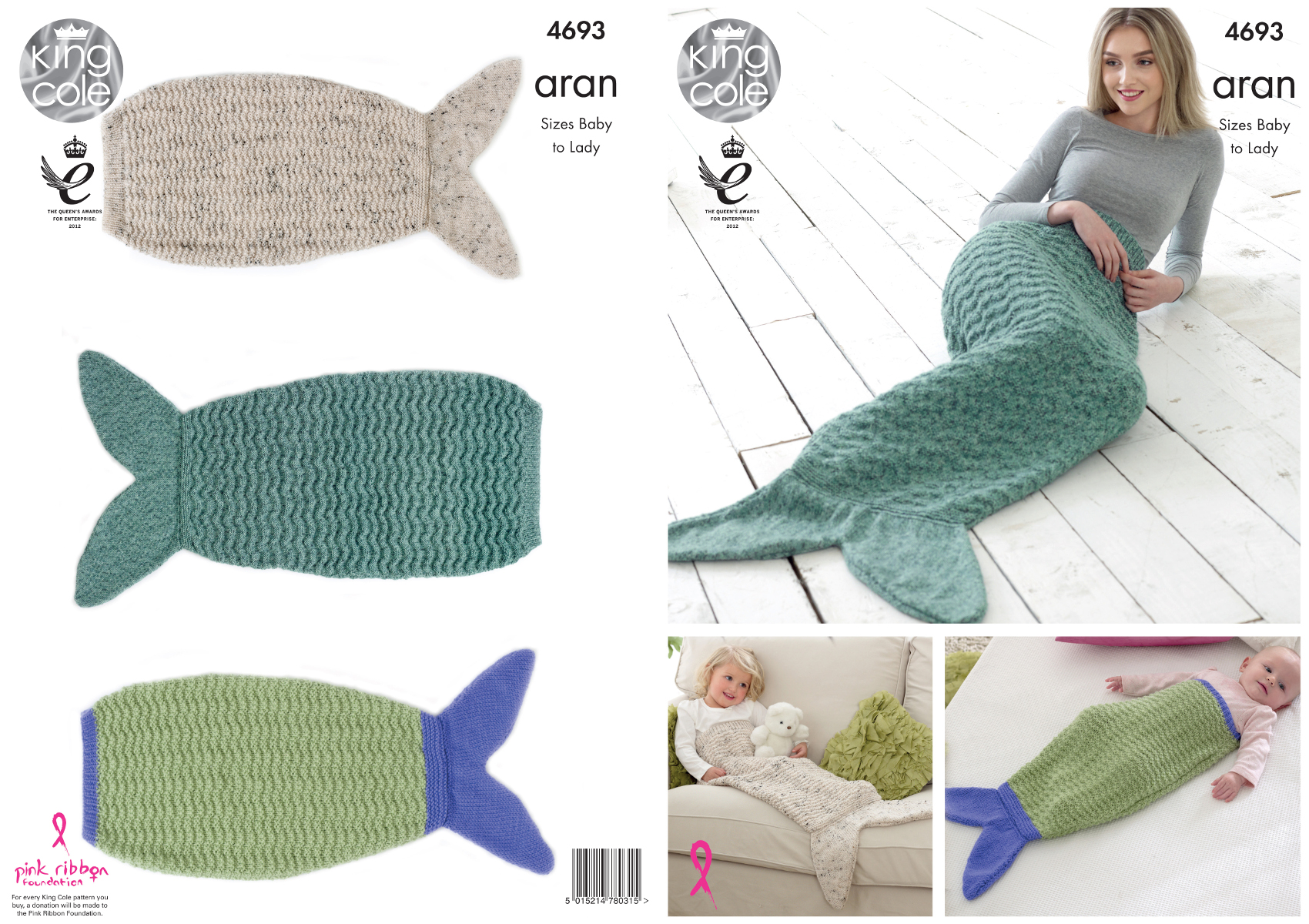King Cole Aran Knitting Pattern Ladies Kids Babies Mermaid Tail