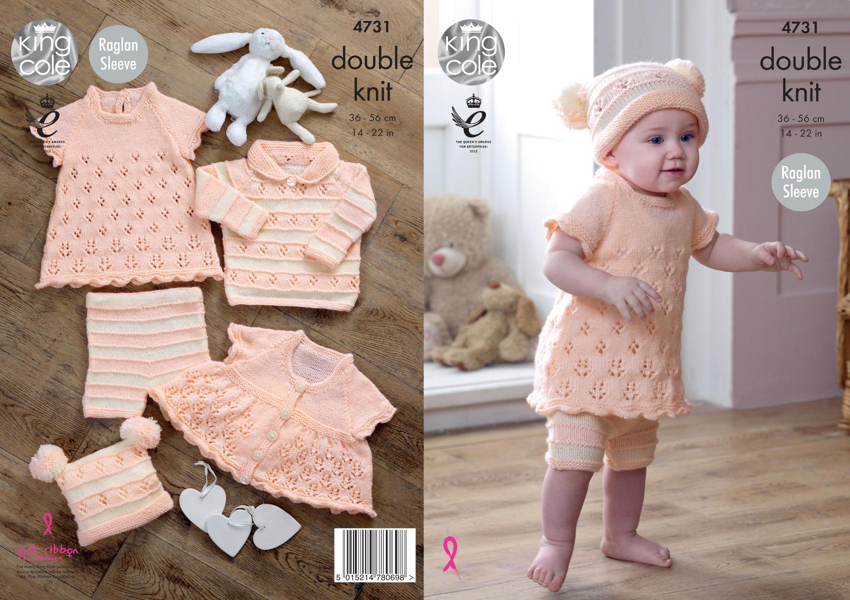 Chunky Knit Knitting Pattern King Cole Baby Coat Dress Waistcoat /& Hat Set 4653