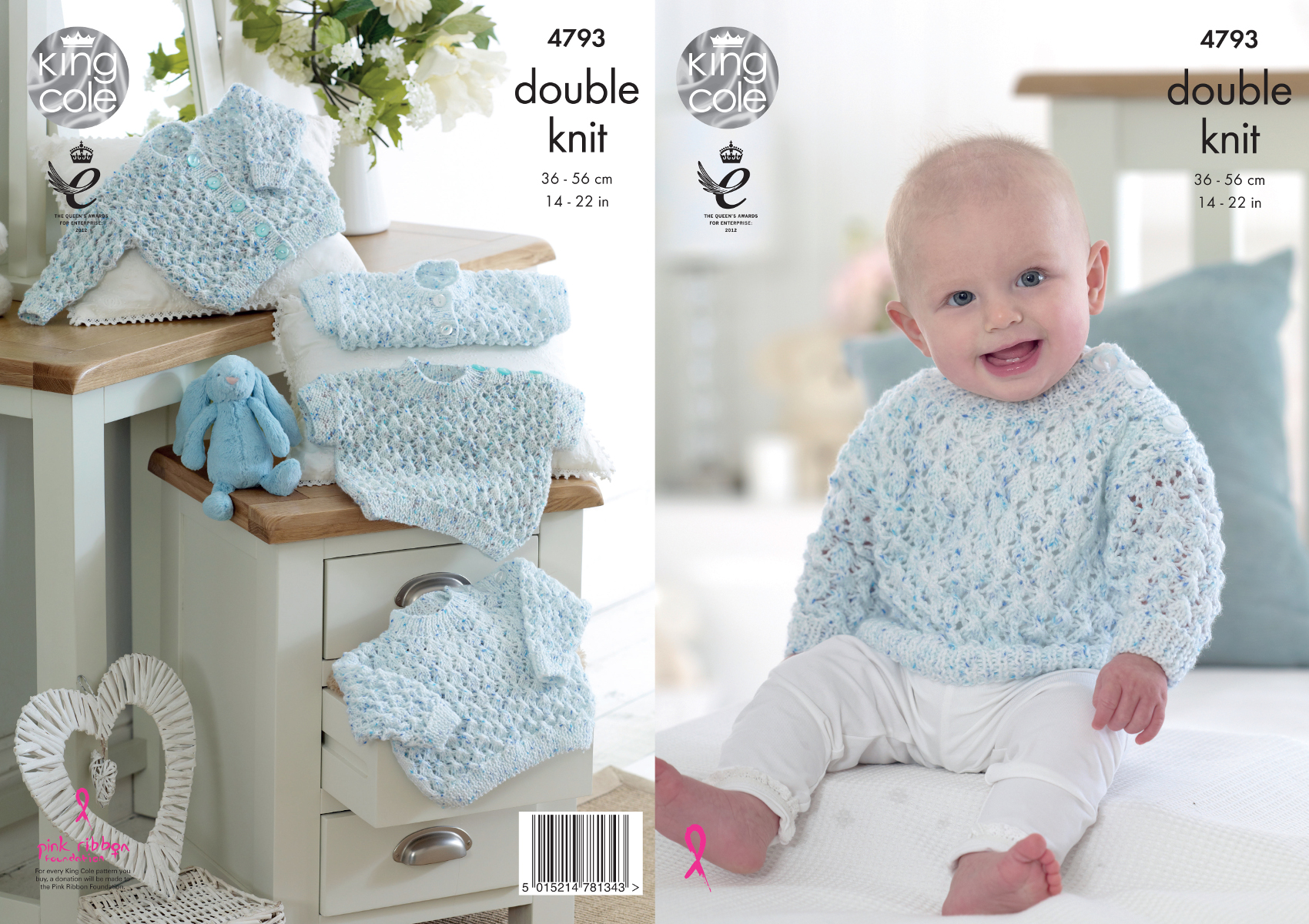 King Cole Baby Double Knitting Pattern Short or Long Sleeve Jumper ...