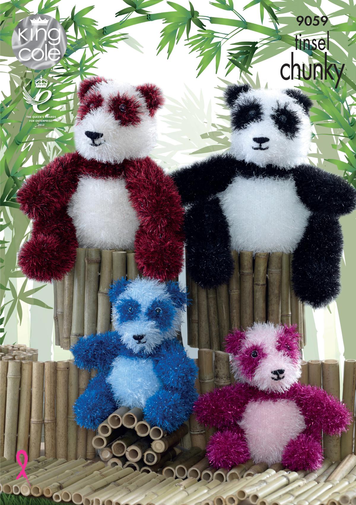 King Cole Tinsel Chunky Knitting Pattern Small or Large Panda Bear ...