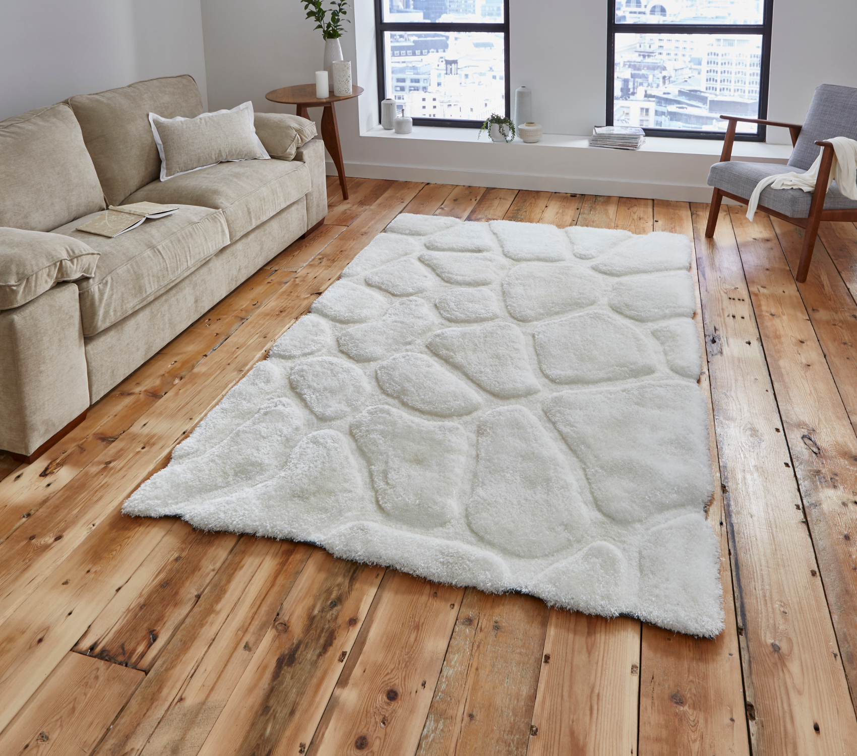 Le House Hand Tufted Pebble Design Gy Pile Rug Super Soft Large Mat Ebay