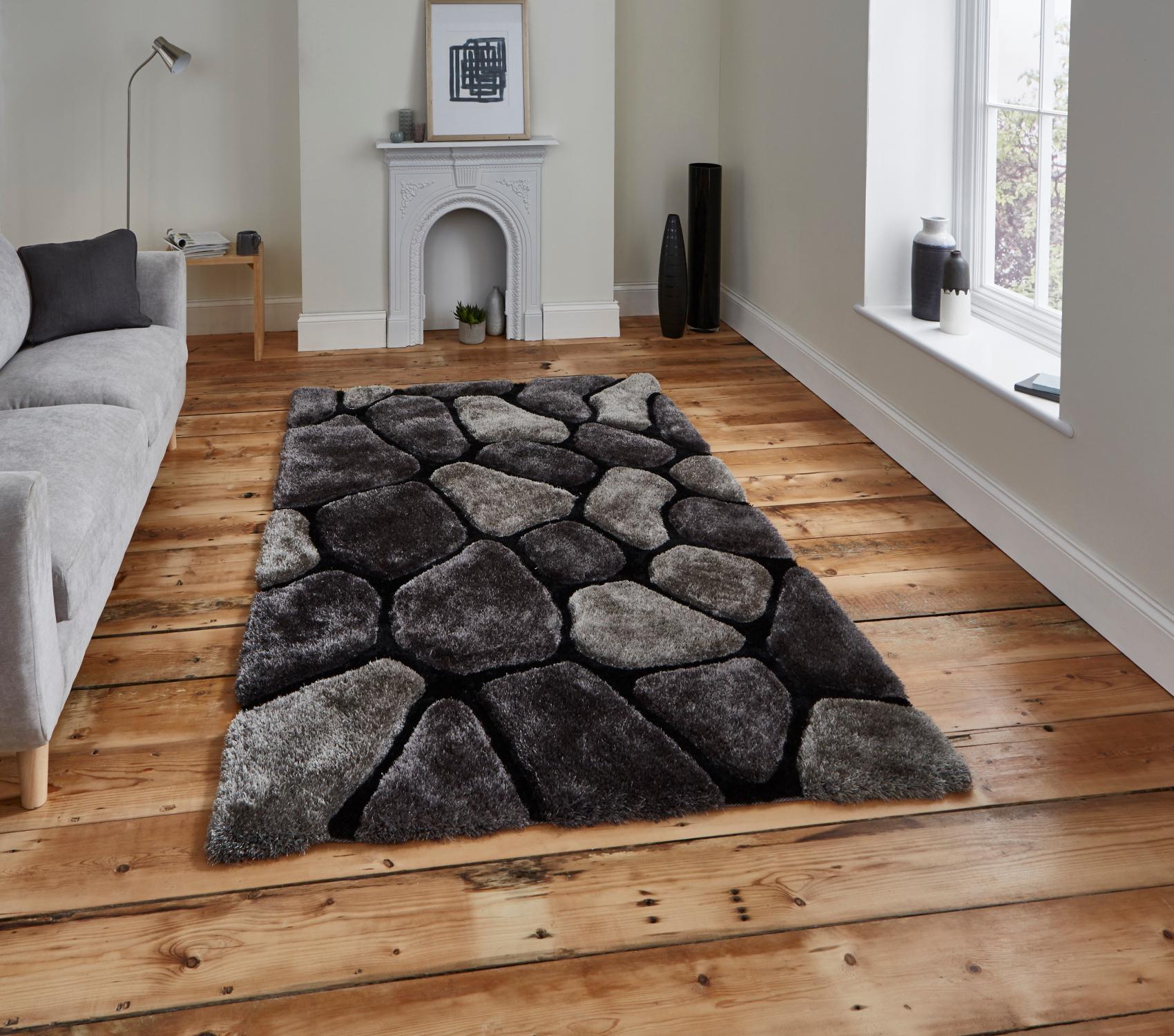 Black Grey Pebble Rug Shaggy Pile Le House Soft Hand Tufted Home Décor Mat