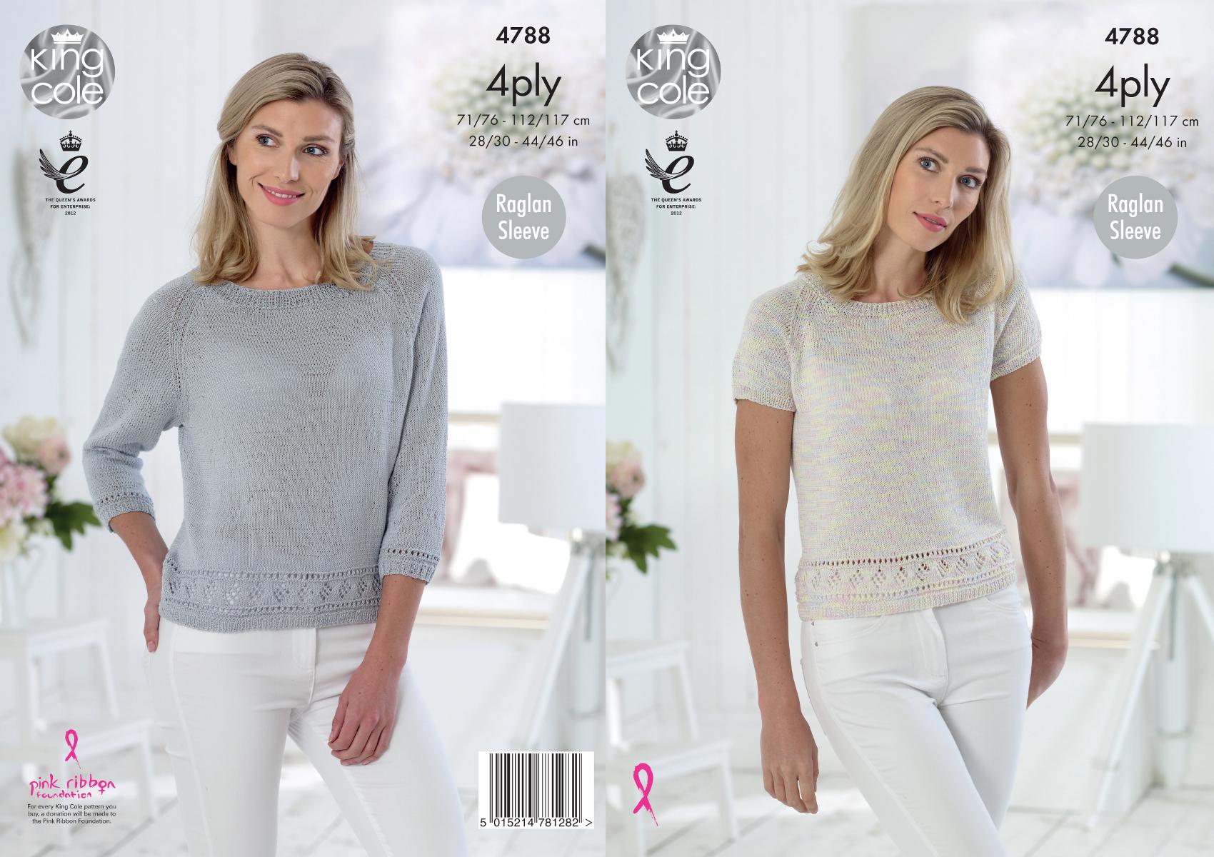 Womens Knitting Pattern Lacy Pattern Hem Raglan Sleeve Tops King ...