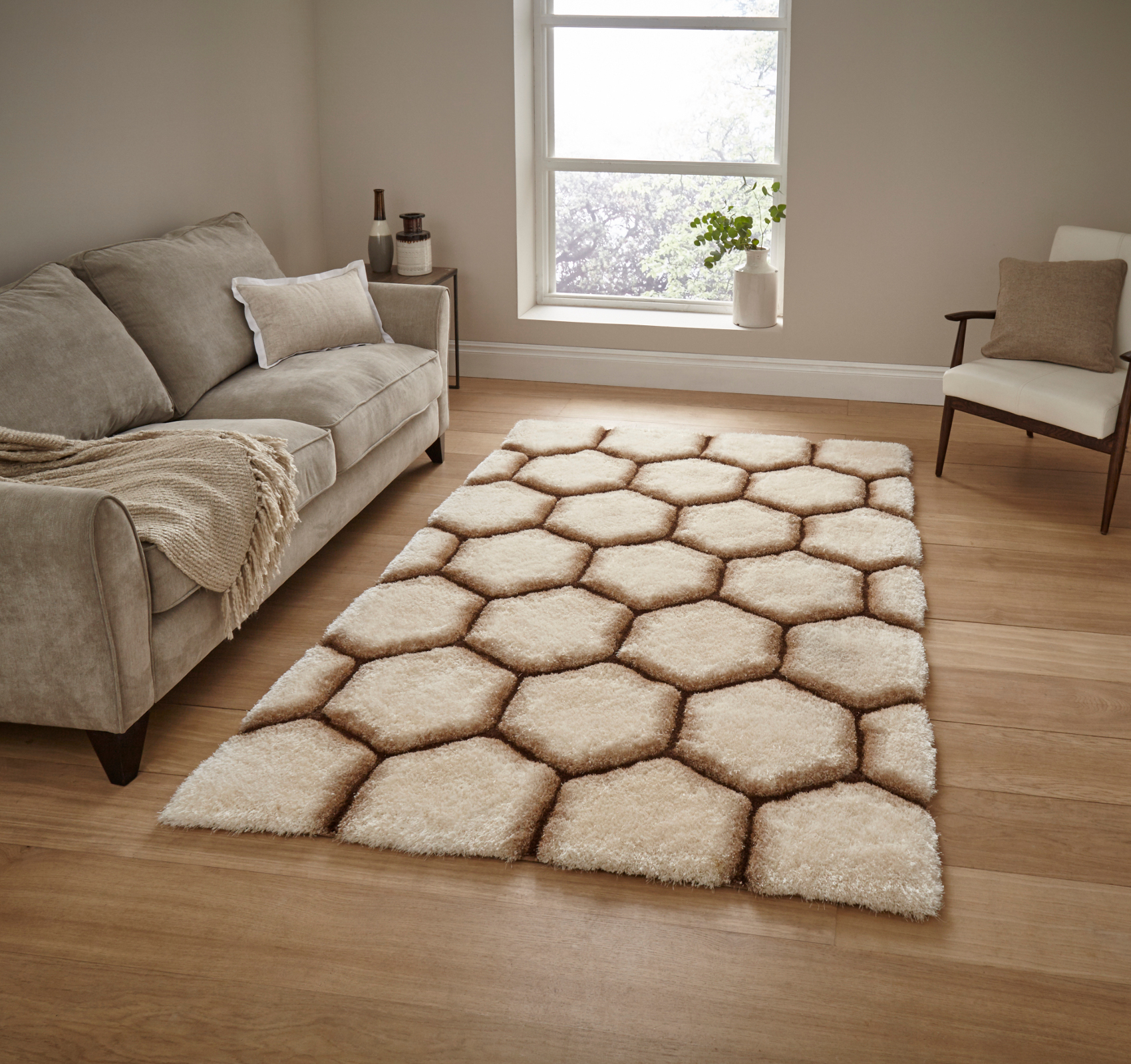 Cream Brown Hexagon Rug Super Soft Gy Pile Le House Honeycomb Floor Mat