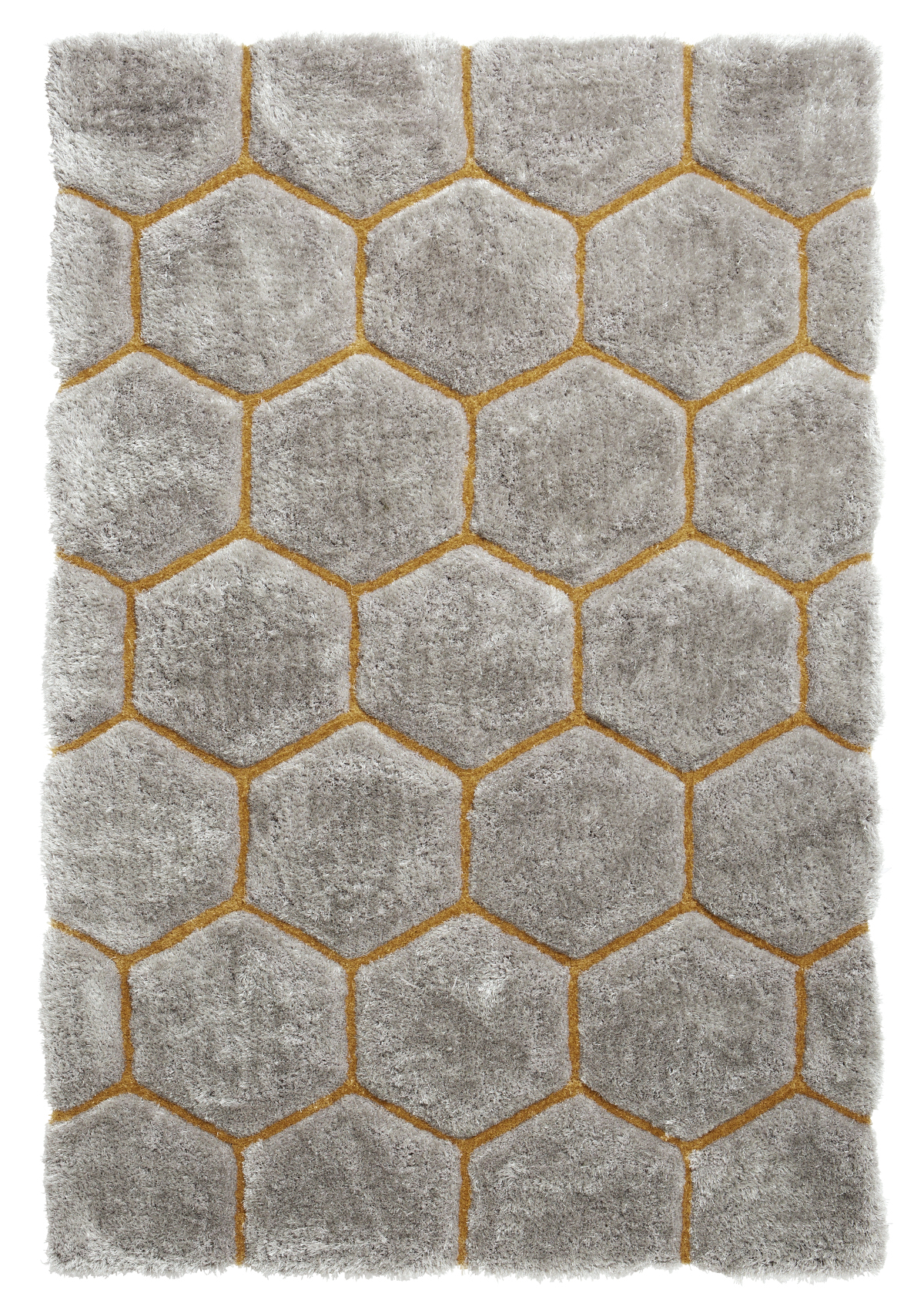 Grey Yellow Hexagon Rug Super Soft Gy Pile Le House Honeycomb Floor Mat