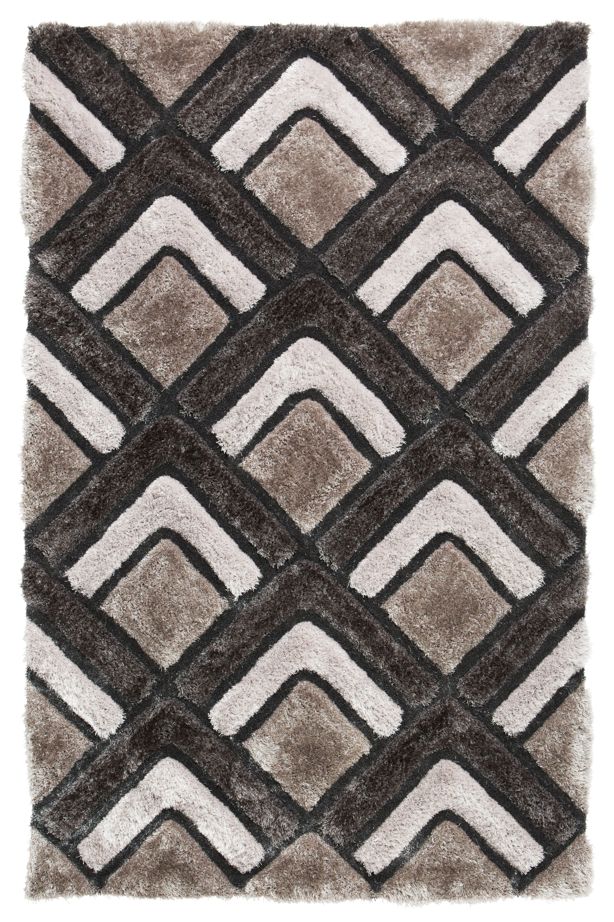 Silver Chevron Rug Shaggy Pile Le House Soft Hand Tufted Mat Home Décor