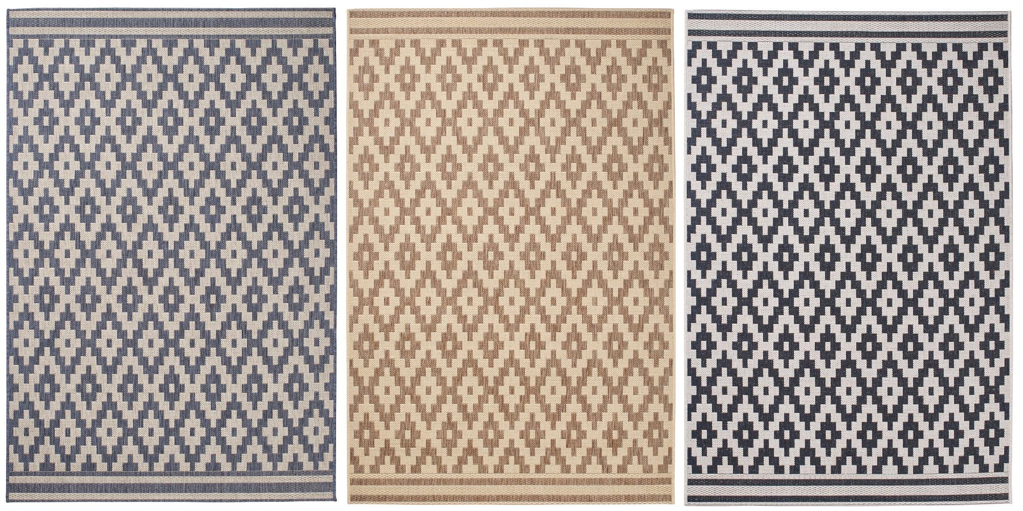 Diamond Design Rug Durable Flat Weave Polypropylene Stain Resistant Mat Home