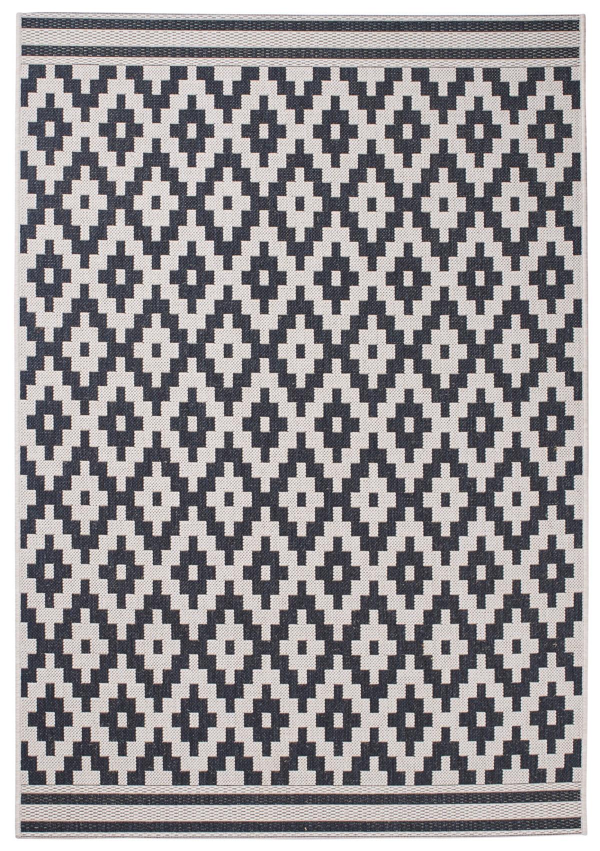 Wool Black Diamond Pattern Rug Machine Made 100 Polypropylene