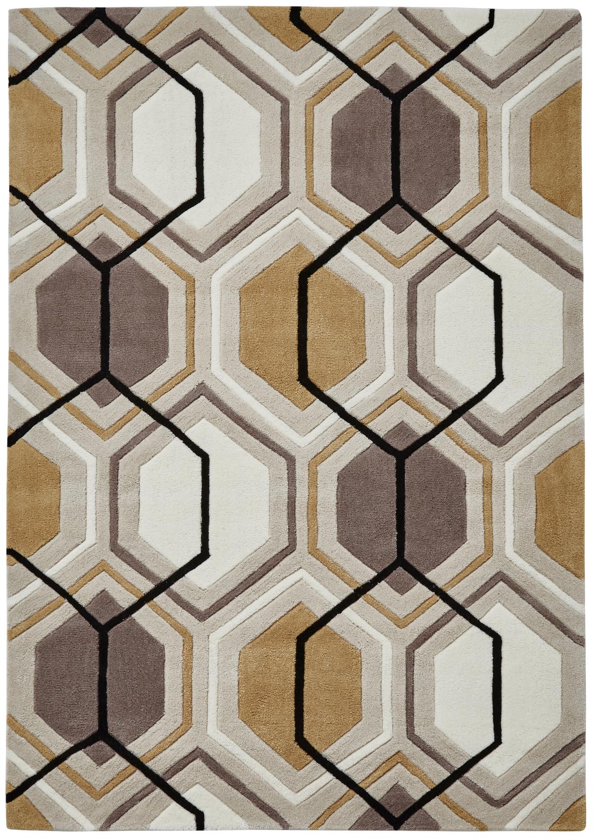 Modern Geometric Design Rug Hexagon 100 Acrylic Hand