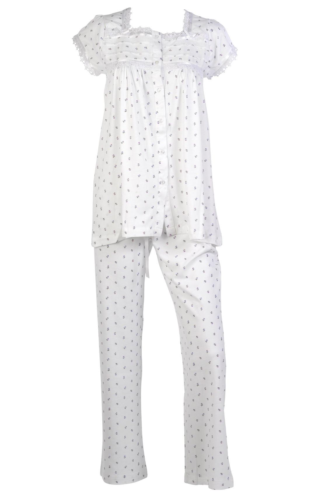 Trouser Set Ladies PJ/'s Nightwear Womens Cotton Lace Short Sleeve Pyjama Top