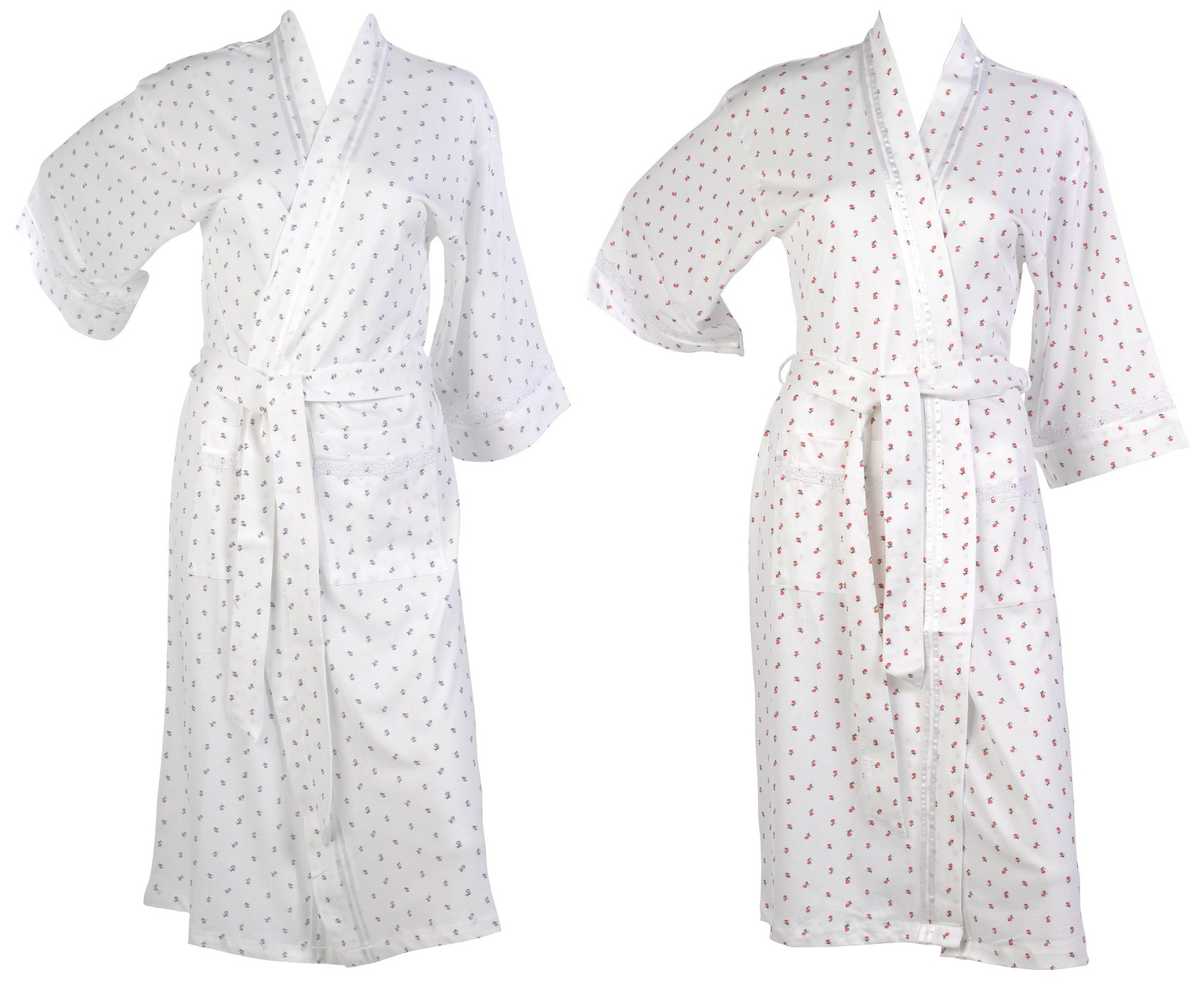 990d4d38a7 These ladies lightweight dressing gowns have a floral rose pattern  throughout with a lace trim
