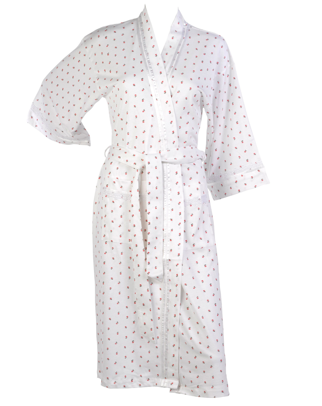 Womens 100% Cotton Floral Dressing Gown Robe Ladies Lightweight ...