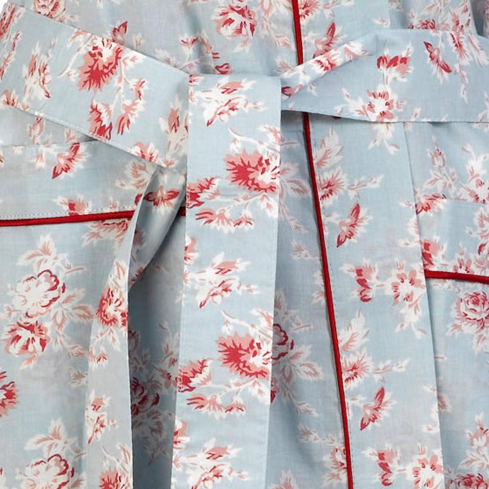 Bathrobe Womens 100% Cotton Vintage Flower Dressing Gown Lightweight ...