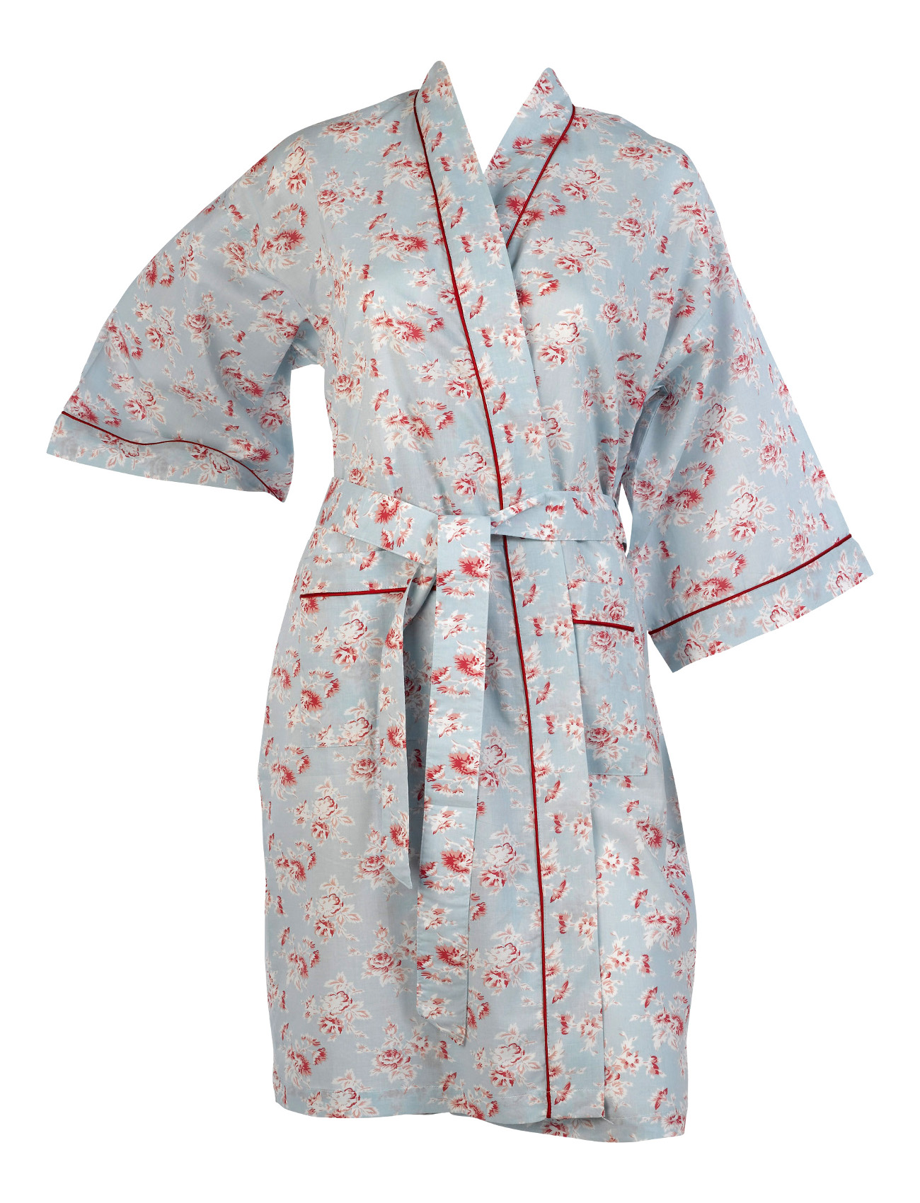 Bathrobe Womens 100% Cotton Vintage Flower Dressing Gown Lightweight ...