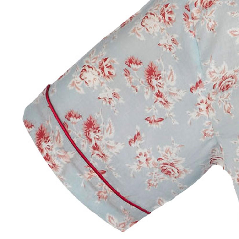 Pyjamas Set Womens 100% Cotton Vintage Flower Button Up