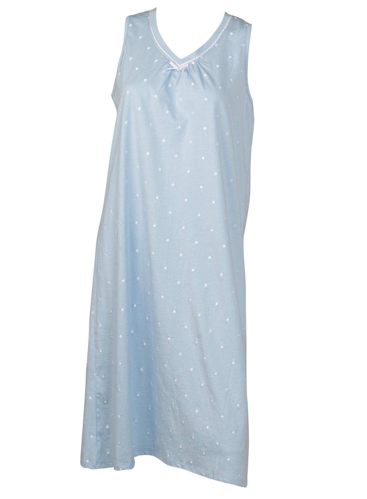 Nightdress 100% Cotton Dobby Dot Sleeveless Nightgown Womens Slenderella  Nightie 1242c24b2