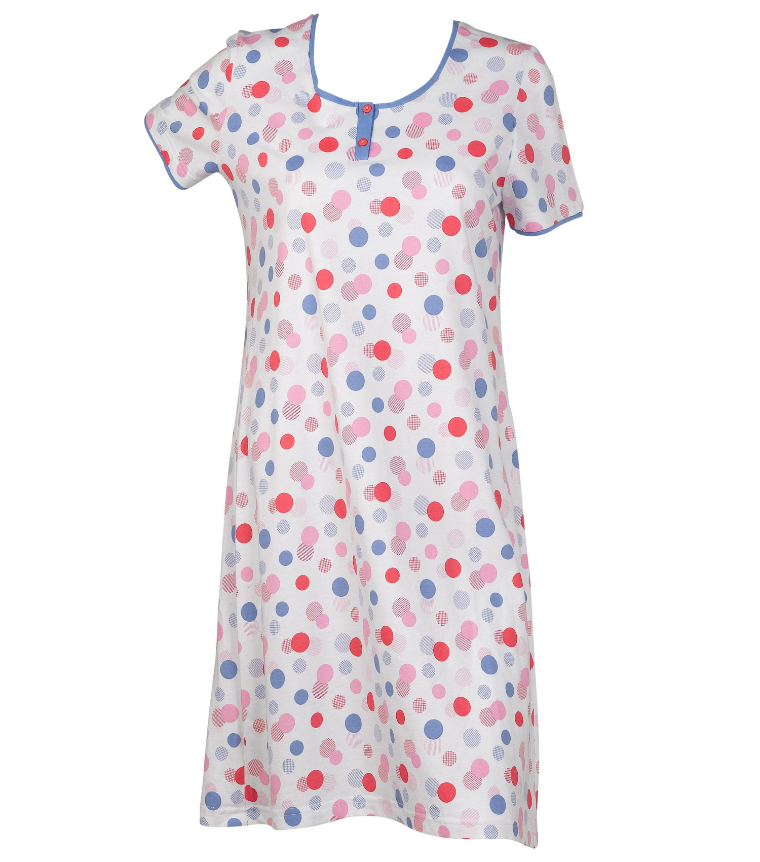Details about Ladies 100% Cotton Polka Dot Nightdress Short Sleeved Round  Neck Spots Nighty 8fa869fc6