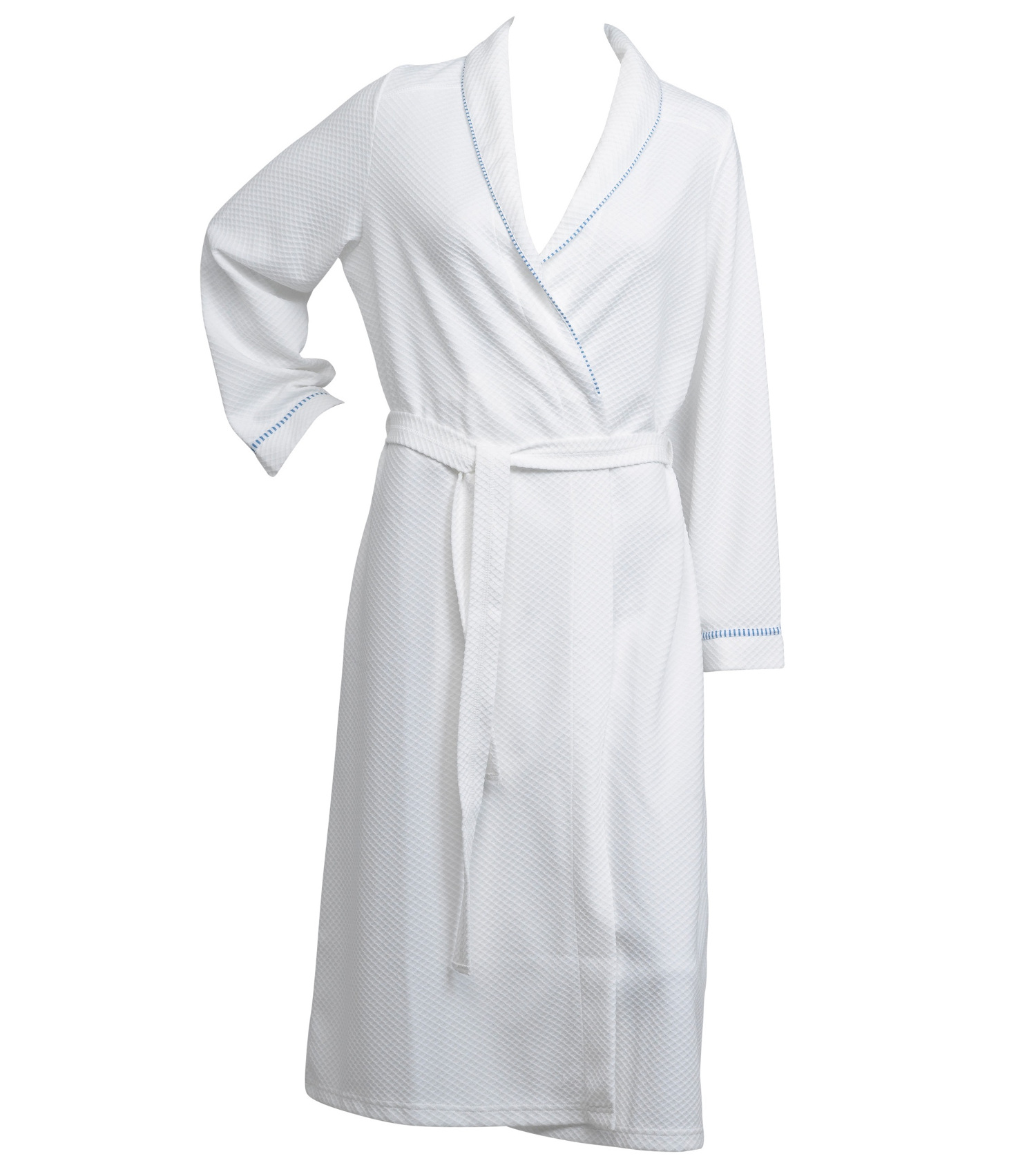 Ladies Lightweight White Waffle Dressing Gown Womens Striped Trim ...