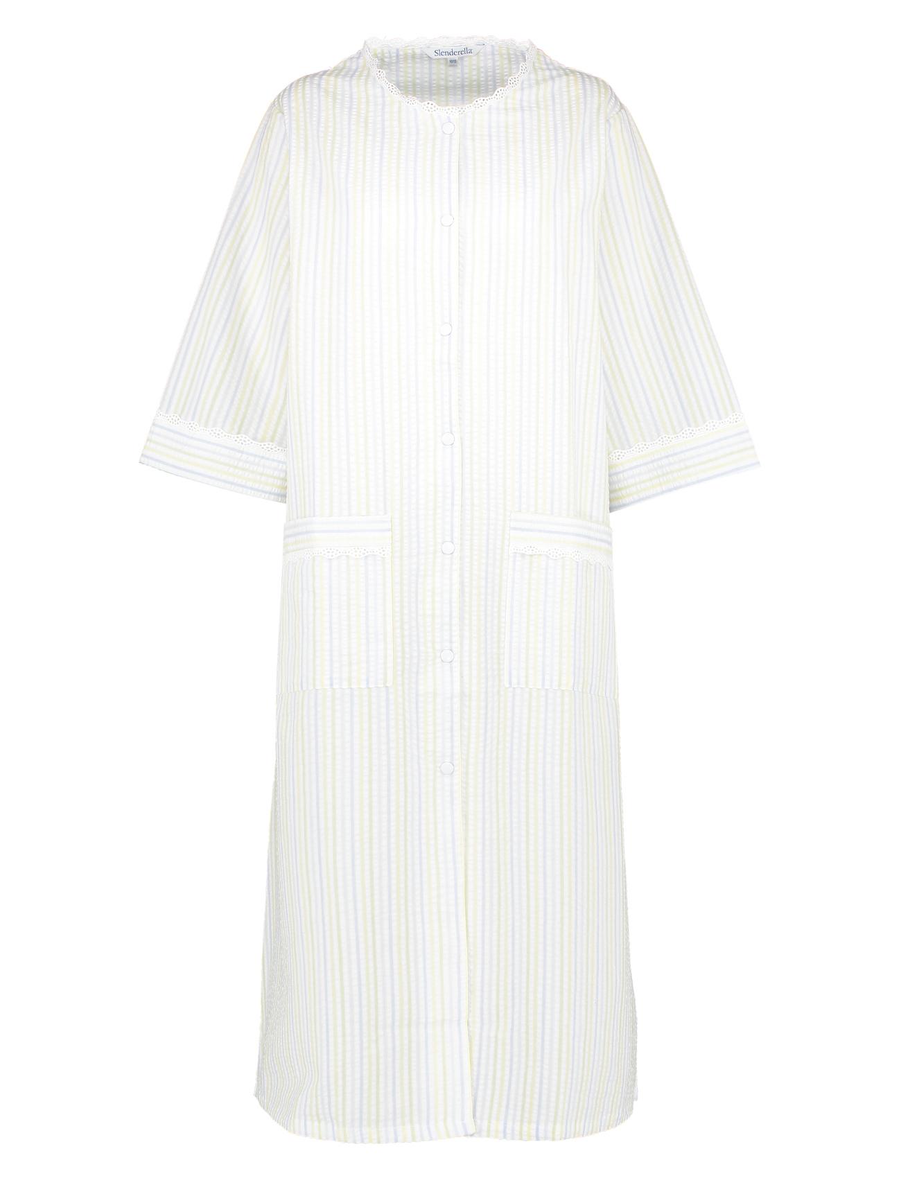 Womens Seersucker Striped Bathrobe Easy Button Poppers Lace Trim ...