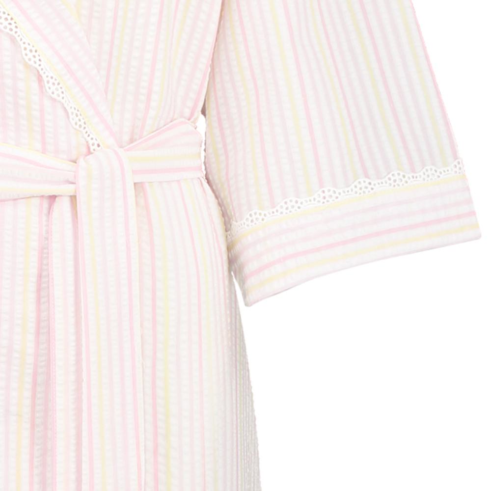 Womens Seersucker Stripe Dressing Gown 3/4 Sleeve Lace Trim Shawl ...