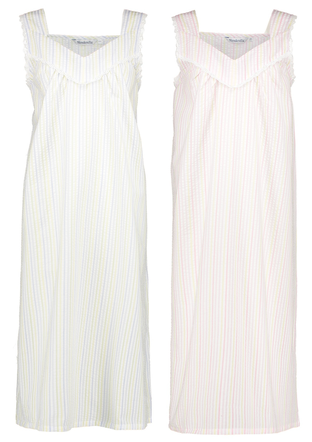 Ladies Nightdress Slenderella Seersucker Stripe Broad Strap Nightie Lace Trim