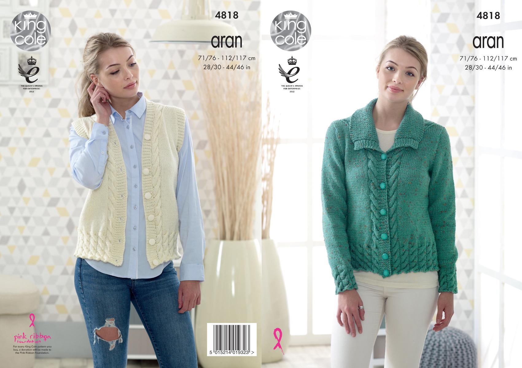 King Cole Ladies Aran Knitting Pattern Womens Cable Knit Jacket ...