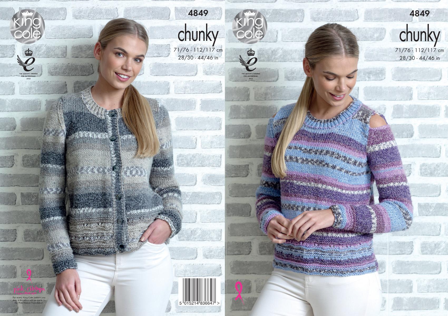 King Cole Ladies Chunky Knitting Pattern Raglan Lace Cardigan /& Sweater 4634