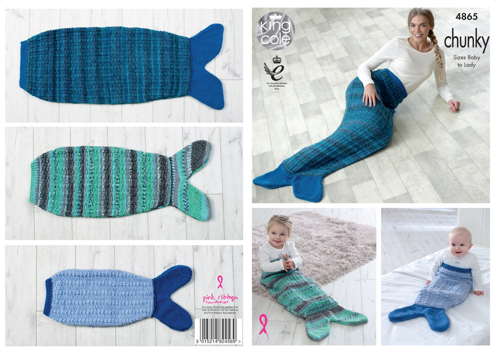 Mermaid Tail Blankets Knitting Pattern Baby to Adult Sizes King Cole ...