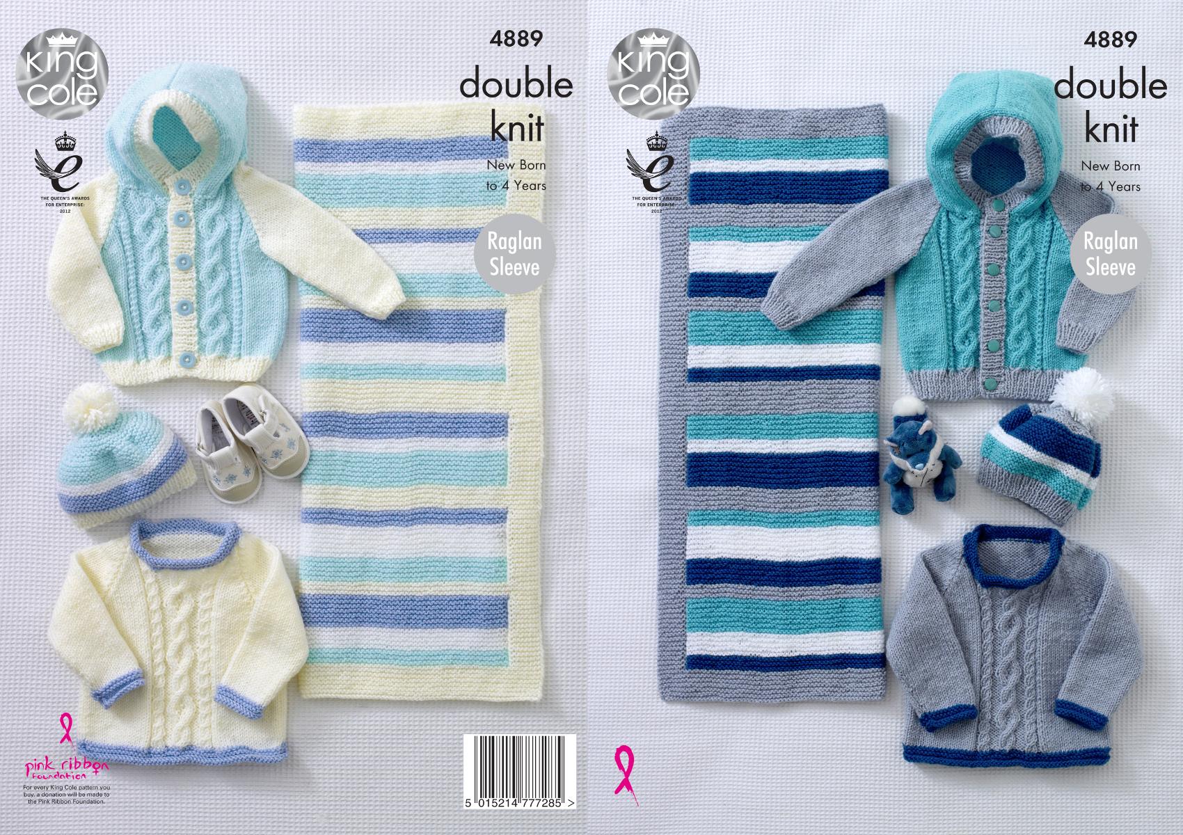 24ac35bb51581 Baby DK Knitting Pattern Raglan Sleeve Jumper Jacket Hat Blanket ...