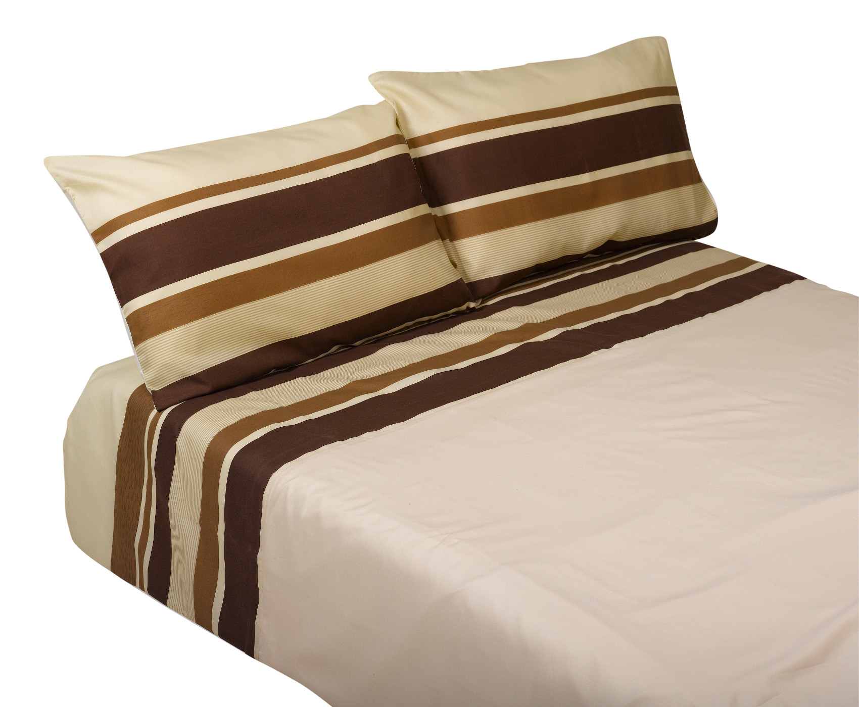Brown Striped Duvet Cover Two Pillowcases Set Easy Care Bedroom Bed Linen Ebay