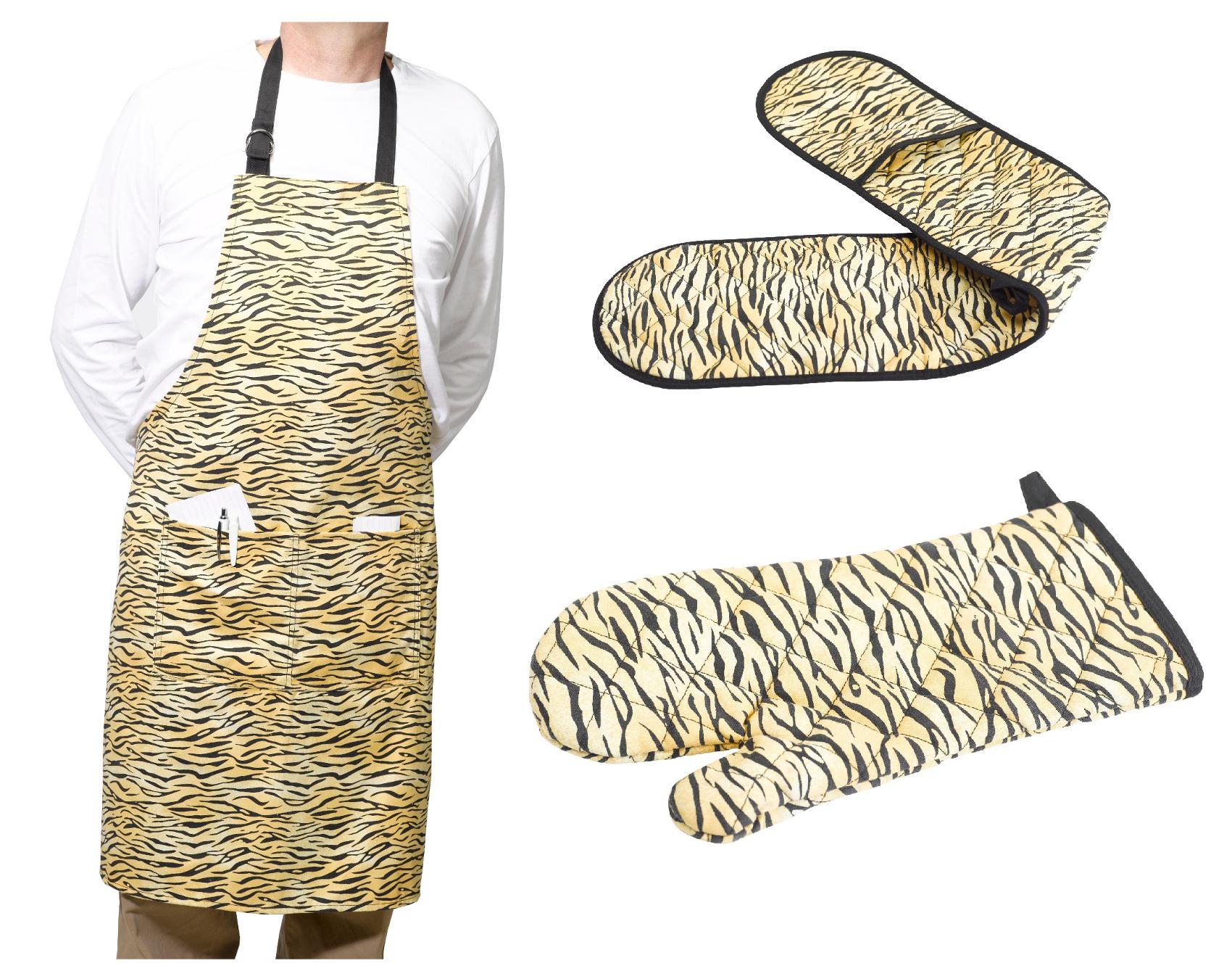 Réglable Bib Tablier /& Four Double Gant ou Gant Imprimé Tigre cuisine fun Kit