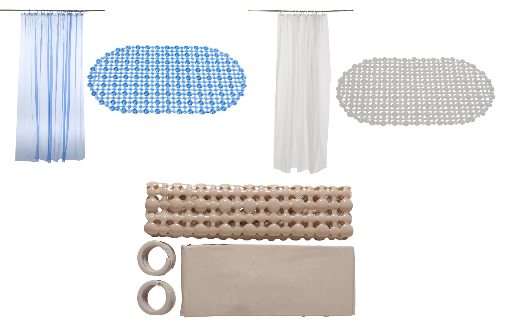 100% Vinyl Bath Mat & Shower Curtain with 12 Hooks Wipe Clean Hotel ...