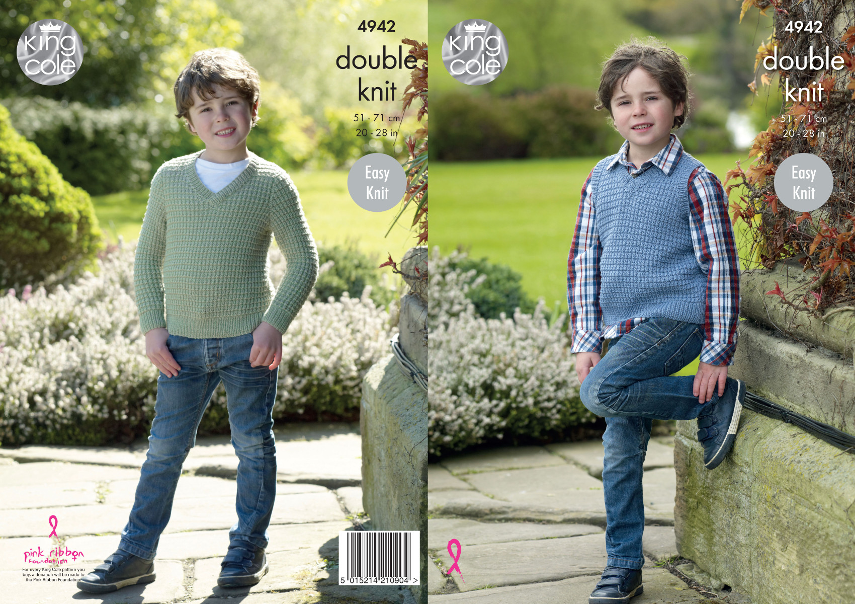 Easy Knit Double Knitting Pattern King Cole Boys V Neck Jumper /& Slipover 4942